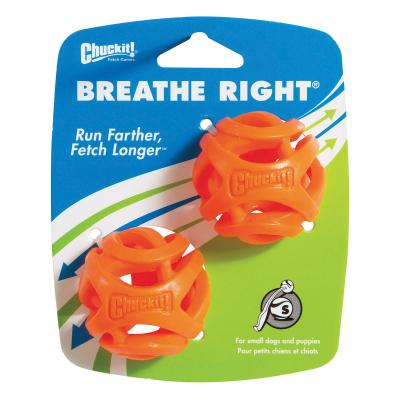 Chuckit Breathe Right Fetch Rubber Balls Small Toy For Dogs 2 Pack
