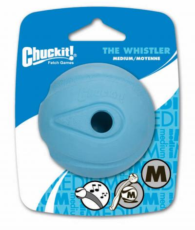 Chuck It Whistler Ball Medium Fetch Rubber Assorted Colour Toy For Dogs 6cm 1 Pack