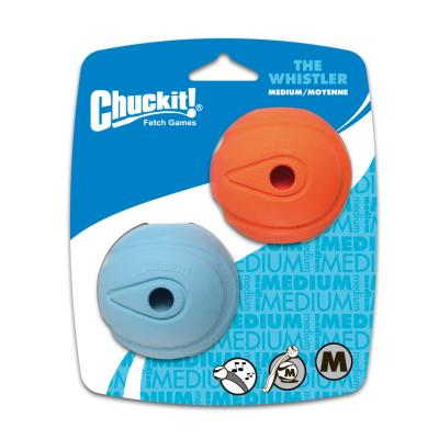 Chuckit Whistler Balls Medium Fetch Rubber Toy For Dogs 6cm 2 Pack