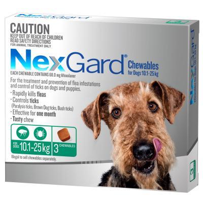 NexGard For Dogs Green Medium 10.1-25kg 3 Pack