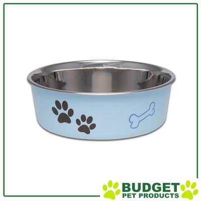 Loving Pets Bella Bowl Non Skid Stainless Steel Murano Blue Small For Cats And Dogs 450mL