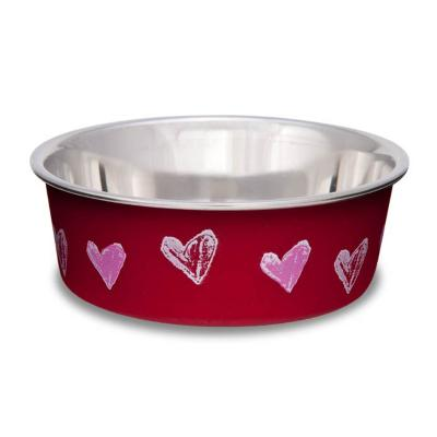 Loving Pets Bella Bowl Non Skid Stainless Steel Valentine Hearts XSmall For Cats And Dogs 240mL