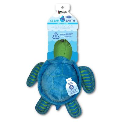Spunky Pup Clean Earth Turtle Large Plush Squeak Toy For Dogs