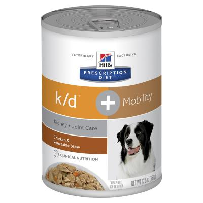 Hills Prescription Diet Canine k/d + Mobility Kidney Plus Joint Care Chicken & Vegetable Stew Canned Wet Dog Food 354gm x 12 (10853)