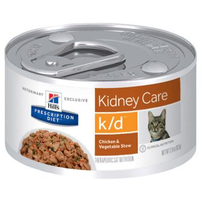 Hills Prescription Diet Feline k/d Kidney Care Chicken Vegetable Stew Canned Wet Cat Food 82gm x 24 (3393)