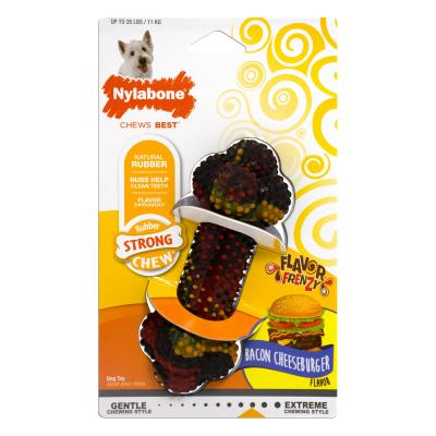 Nylabone Flavour Frenzy Bacon Cheeseburger Regular Small Strong Rubber Toy For Dogs Up To 11kg