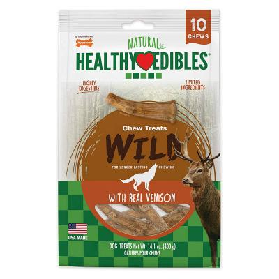 Nylabone Healthy Edibles Natural Chew Long Lasting Venison Antler Medium Treats For Dogs Up to 22.5kg 10 Pack 400g
