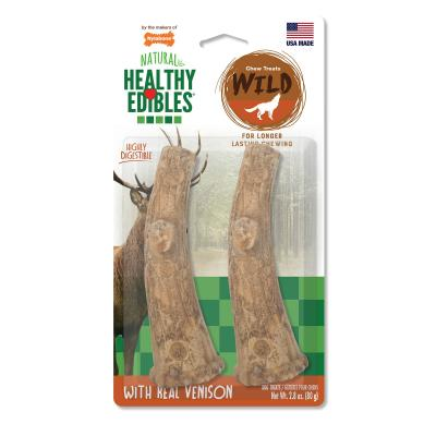 Nylabone Healthy Edibles Natural Chew Long Lasting Venison Antler Medium Treats For Dogs Up to 22.5kg 2 Pack 96g