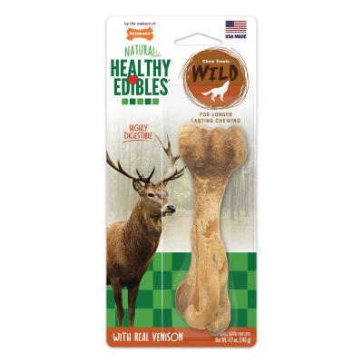 Nylabone Healthy Edibles Natural Chew Bones Long Lasting Wild Venison Large Treat For Dogs 16-22.5kg 1 Pack 140g