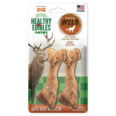 Nylabone Healthy Edibles Natural Chew Bones Long Lasting Wild Venison Medium Treats For Dogs 11-16kg 2 Pack 80g