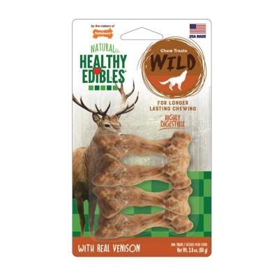 Nylabone Healthy Edibles Natural Chew Bones Long Lasting Wild Venison Small Treats For Dogs 6.5-11kg 4 Pack 80g