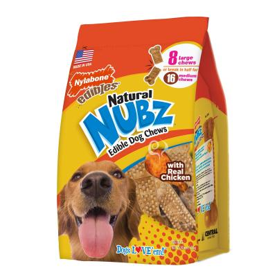 Nylabone Edibles Natural Nubz Chews Chicken Bacon Large Treats For Dogs 6.5-13kg 8 Pack 416g