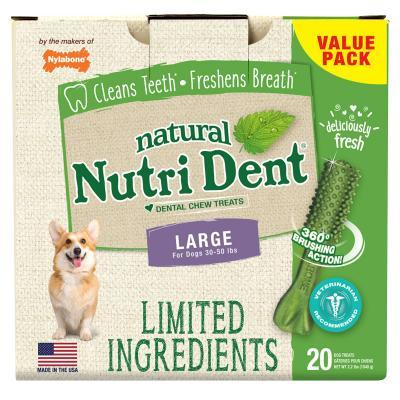 Nylabone Nutri Dent Natural Fresh Breath Dental Large Treats For Dogs 13.5-22.5kg 20 Pack 1.04kg