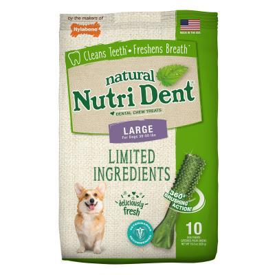 Nylabone Nutri Dent Natural Fresh Breath Dental Large Treats For Dogs 13.5-22.5kg 10 Pack 520gm