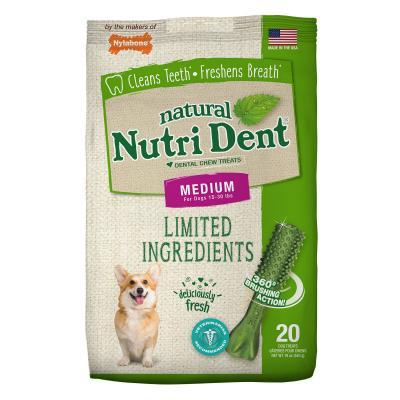 Nylabone Nutri Dent Natural Fresh Breath Dental Medium Treats For Dogs 6.5-13.5kg 20 Pack 540gm