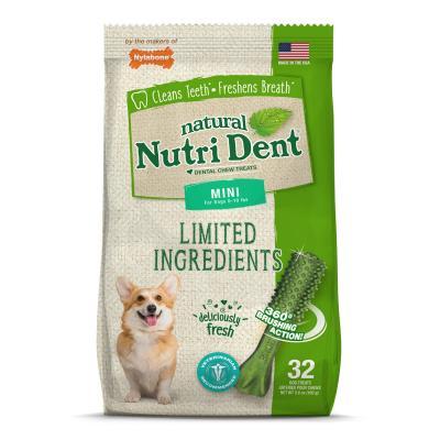 Nylabone Nutri Dent Natural Fresh Breath Dental Mini Treats For Dogs 2.5-4.5kg 32 Pack 160gm