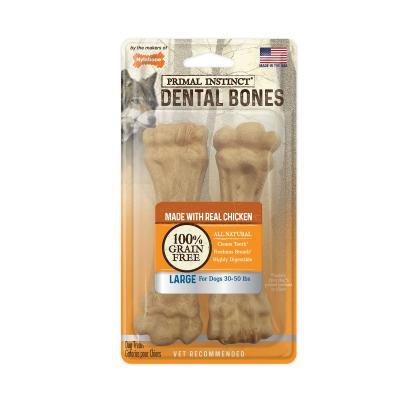 Nylabone Primal Instinct Dental Bones Chicken Natural Grain Free Large Treats For Dogs 13.5-22.5kg 2 Pack 164g