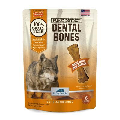 Nylabone Primal Instinct Dental Bones Chicken Natural Grain Free Large Treats For Dogs 13.5-22.5kg 6 Pack 492g