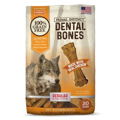 Nylabone Primal Instinct Dental Bones Chicken Natural Grain Free Regular Small Treats For Dogs 6.5-13.5kg 20 Pack 400g