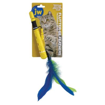 JW Telescopic Flutter-EE Feather Extendable Wand Teaser Toy For Cats
