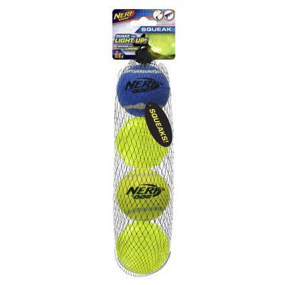 Nerf Ball Blaster Pack Squeaker Tennis Balls And Rubber LED Light Balls Medium 6cm 4 Pack