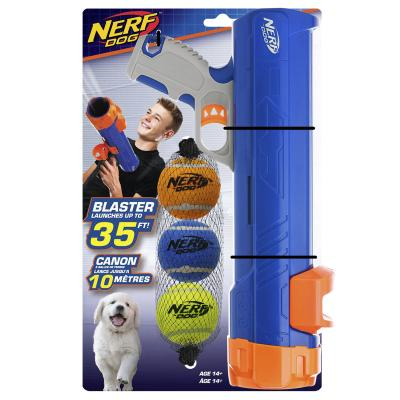 Nerf Ball Blaster Set With 3 Small Tennis Balls And Blue Launcher Canon 30cm Toy For Dogs