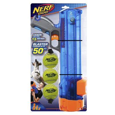 Nerf Ball Blaster Set With 3 Medium Tennis Balls And Translucent Launcher Canon 40cm Toy For Dogs