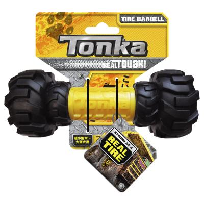 Tonka Axel Tread Feeder Barbell Real Tire Tough Rubber Treat Dispenser Toy For Dogs