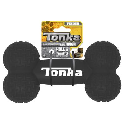 Tonka Diamond Plate Feeder Bone Real Tire Tough Rubber Treat Dispenser Toy For Dogs