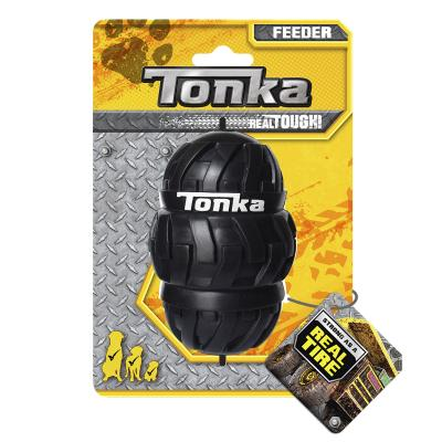 Tonka Tri Stack Tread Feeder Real Tire Tough Rubber Treat Dispenser Small Toy For Dogs