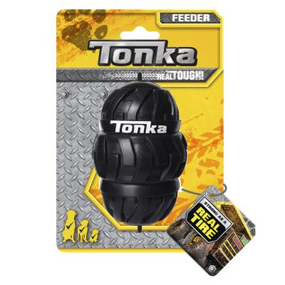 Tonka Tri Stack Tread Feeder Real Tire Tough Rubber Treat Dispenser Large Toy For Dogs