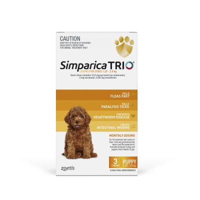 Simparica TRIO For Dogs 1.3 - 2.5kg Yellow Puppy 3 Chews