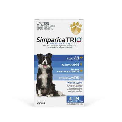 Simparica TRIO For Dogs 10.1- 20kg Blue Medium 6 Chews