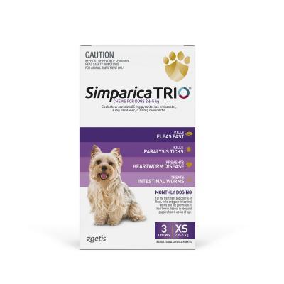 Simparica TRIO For Dogs 2.6 - 5kg Purple XSmall 3 Chews