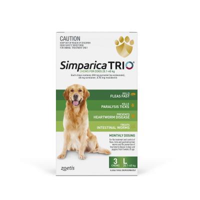 Simparica TRIO For Dogs 20.1- 40kg Green Large 3 Chews