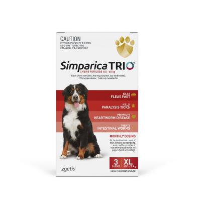 Simparica TRIO For Dogs 40.1- 60kg Red XLarge 3 Chews