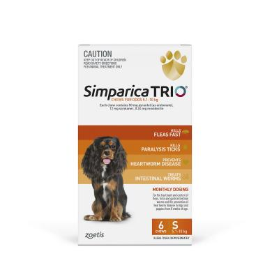 Simparica TRIO For Dogs 5.1-10kg Orange Small 6 Chews
