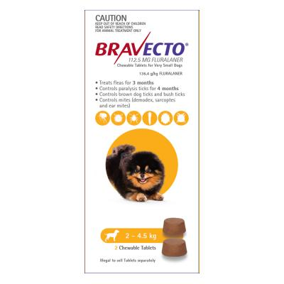Bravecto For Very Small Dogs 2-4.5kg 2 Chews