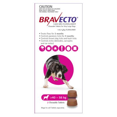 Bravecto For Very Large Dogs 40-56kg 2 Chews
