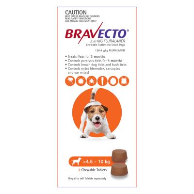 Bravecto For Small Dogs 4.5-10kg 2 Chews