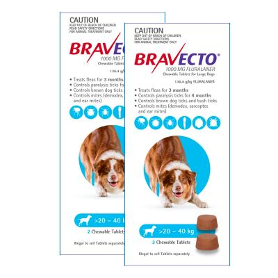 Bravecto For Large Dogs 20-40kg 4 Chews