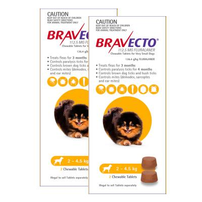 Bravecto For Very Small Dogs 2-4.5kg 4 Chews