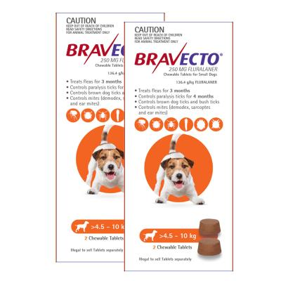 Bravecto For Small Dogs 4.5-10kg 4 Chews
