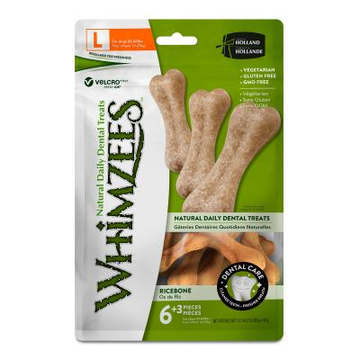 Whimzees Dental Ricebone Large Treats For Dogs 12-27kg 9 Pack 540gm