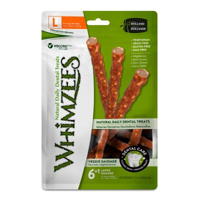 Whimzees Natural Dental Veggie Sausage Large Treats For Dogs 18-27kg 7 Pack 420gm