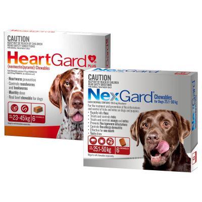 NexGard & HeartGard Large Dog Bundle 6 Pack (NexGard 25.1-50kg & HeartGard Plus 23-45kg)
