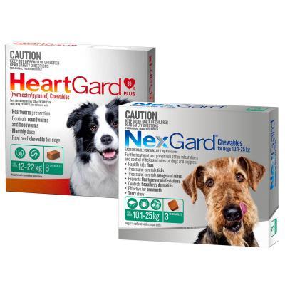 NexGard & HeartGard Medium Dog Bundle 6 Pack (NexGard 10.1-25kg & HeartGard Plus 12-22kg)