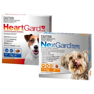 NexGard & HeartGard Very Small Dog Bundle 6 Pack (NexGard 2.0-4kg & HeartGard Plus Up To 4kg)