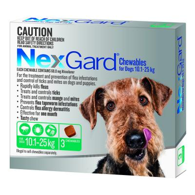 NexGard For Dogs Green Medium 10.1-25kg 3 Pack
