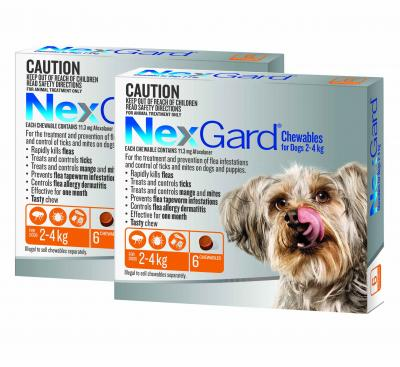 NexGard For Dogs Orange Very Small 2.0-4kg 12 Pack
